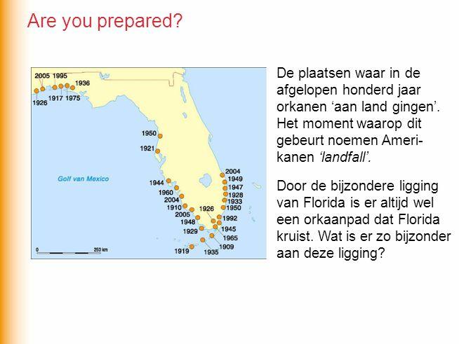 De plaatsen waar in de afgelopen honderd jaar orkanen 'aan land gingen'. Het moment waarop dit gebeurt noemen Ameri- kanen 'landfall'. Door de bijzond