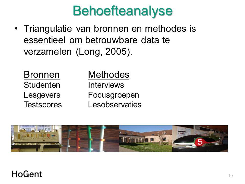 Behoefteanalyse Triangulatie van bronnen en methodes is essentieel om betrouwbare data te verzamelen (Long, 2005).
