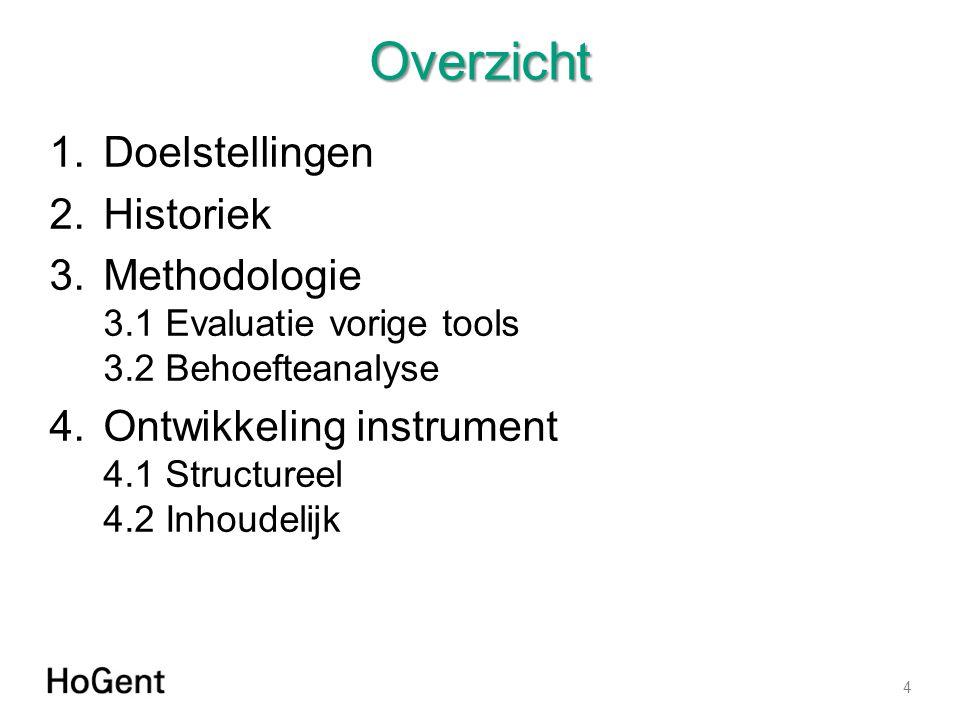 Overzicht 1.Doelstellingen 2.Historiek 3.Methodologie 3.1 Evaluatie vorige tools 3.2 Behoefteanalyse 4.Ontwikkeling instrument 4.1 Structureel 4.2 Inhoudelijk 4
