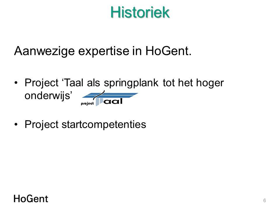Historiek Aanwezige expertise in HoGent.