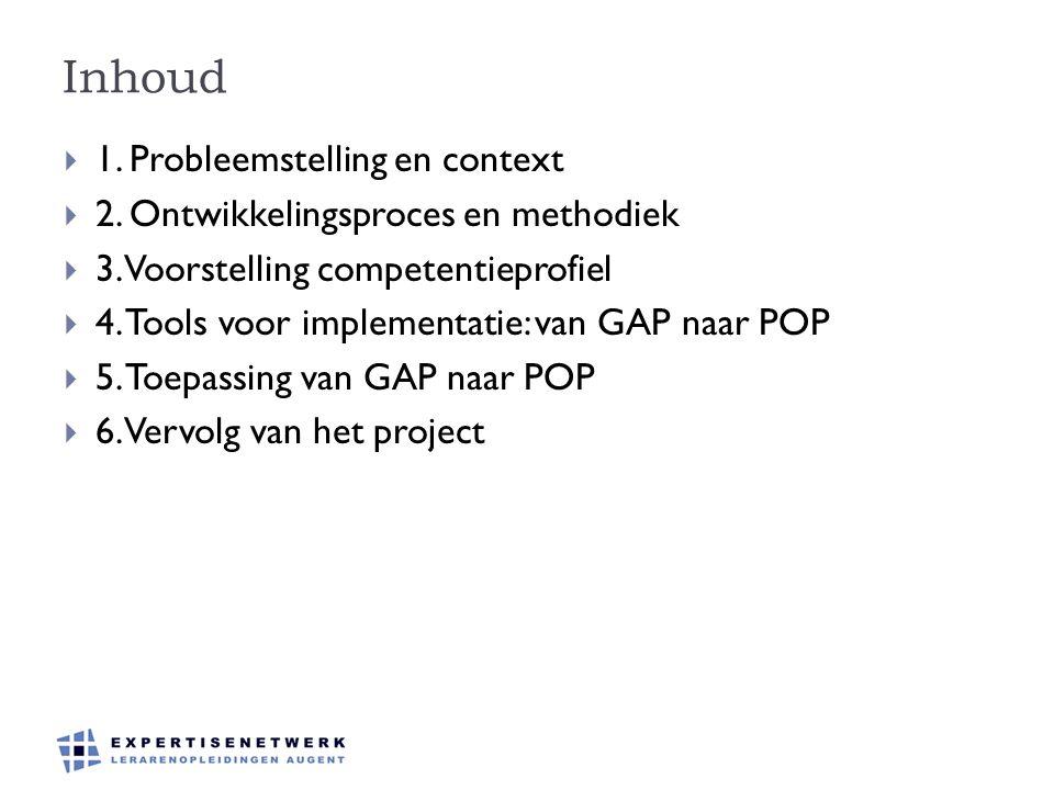 Inhoud  1. Probleemstelling en context  2. Ontwikkelingsproces en methodiek  3. Voorstelling competentieprofiel  4. Tools voor implementatie: van