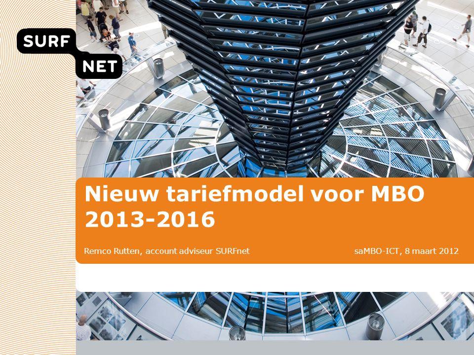 Nieuw tariefmodel voor MBO 2013-2016 Remco Rutten, account adviseur SURFnet saMBO-ICT, 8 maart 2012