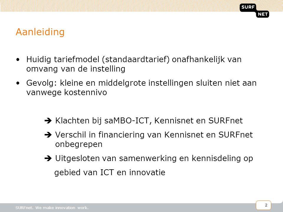 2 SURFnet. We make innovation work. Aanleiding Huidig tariefmodel (standaardtarief) onafhankelijk van omvang van de instelling Gevolg: kleine en midde