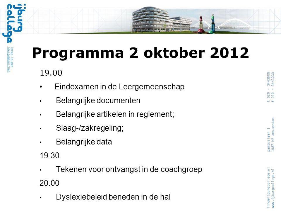 Programma 2 oktober 2012 19.00 Eindexamen in de Leergemeenschap Belangrijke documenten Belangrijke artikelen in reglement; Slaag-/zakregeling; Belangr
