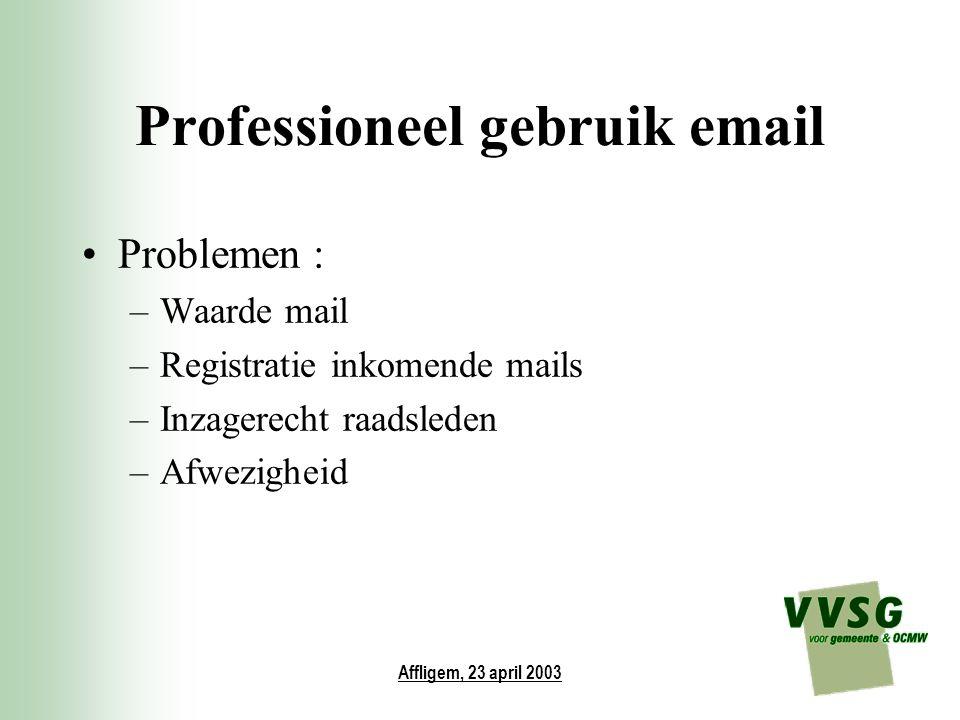 Affligem, 23 april 2003 Professioneel gebruik email Problemen : –Waarde mail –Registratie inkomende mails –Inzagerecht raadsleden –Afwezigheid