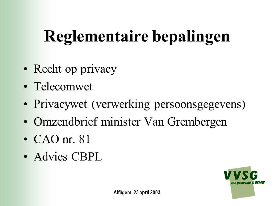 Affligem, 23 april 2003 Reglementaire bepalingen Recht op privacy Telecomwet Privacywet (verwerking persoonsgegevens) Omzendbrief minister Van Grember