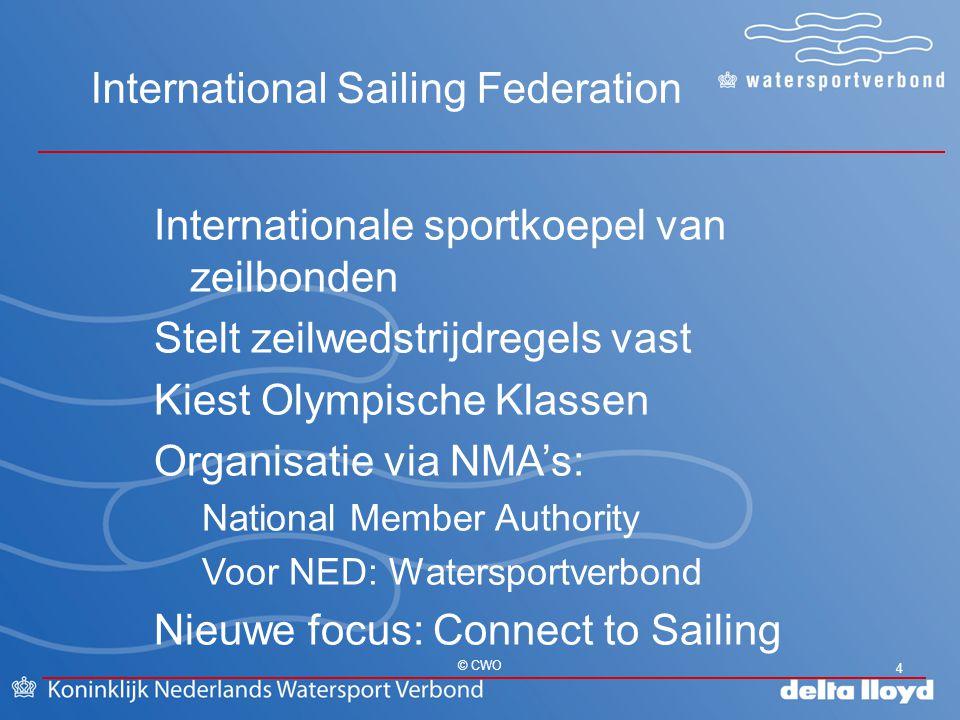 International Sailing Federation 4 © CWO Internationale sportkoepel van zeilbonden Stelt zeilwedstrijdregels vast Kiest Olympische Klassen Organisatie
