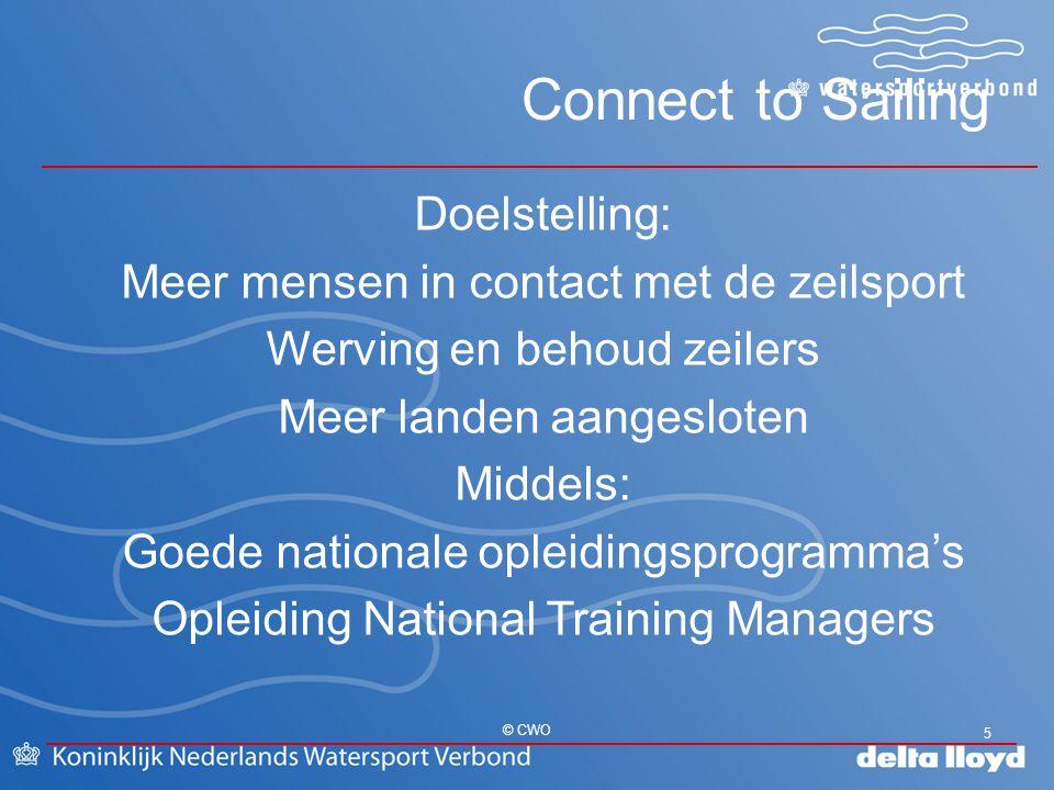 Connect to Sailing 5 © CWO Doelstelling: Meer mensen in contact met de zeilsport Werving en behoud zeilers Meer landen aangesloten Middels: Goede nati