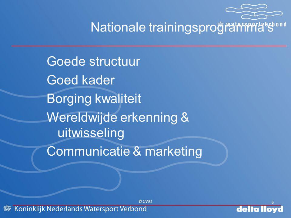 Nationale trainingsprogramma's 6 © CWO Goede structuur Goed kader Borging kwaliteit Wereldwijde erkenning & uitwisseling Communicatie & marketing