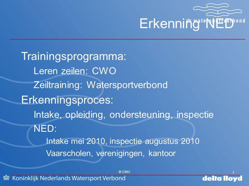 Erkenning NED 7 © CWO Trainingsprogramma: Leren zeilen: CWO Zeiltraining: Watersportverbond Erkenningsproces: Intake, opleiding, ondersteuning, inspec