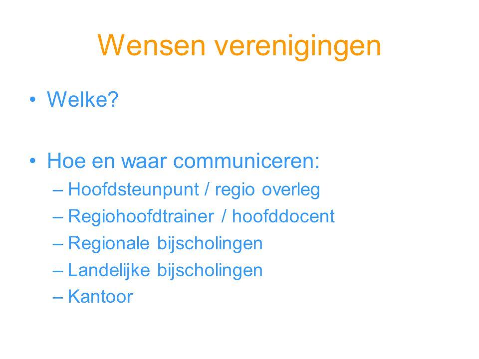Wensen verenigingen Welke? Hoe en waar communiceren: –Hoofdsteunpunt / regio overleg –Regiohoofdtrainer / hoofddocent –Regionale bijscholingen –Landel