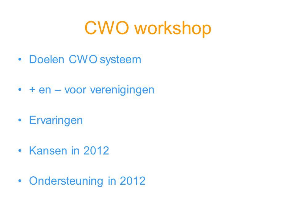 CWO workshop Doelen CWO systeem + en – voor verenigingen Ervaringen Kansen in 2012 Ondersteuning in 2012