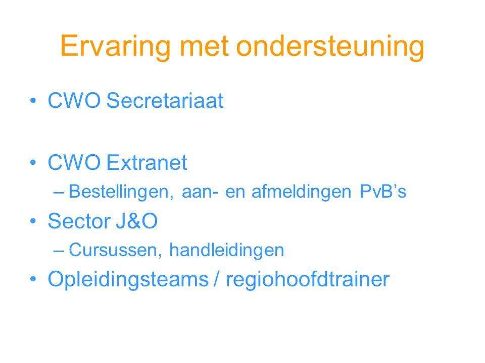 Ervaring met ondersteuning CWO Secretariaat CWO Extranet –Bestellingen, aan- en afmeldingen PvB's Sector J&O –Cursussen, handleidingen Opleidingsteams