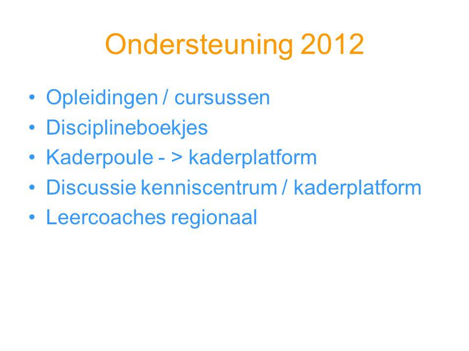 Ondersteuning 2012 Opleidingen / cursussen Disciplineboekjes Kaderpoule - > kaderplatform Discussie kenniscentrum / kaderplatform Leercoaches regionaa
