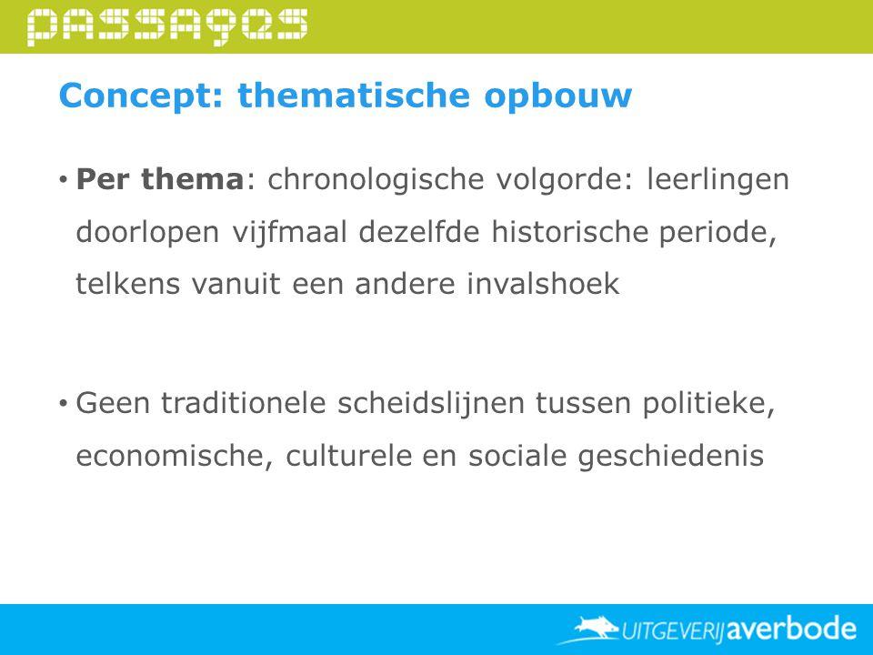 Per thema: chronologische volgorde: leerlingen doorlopen vijfmaal dezelfde historische periode, telkens vanuit een andere invalshoek Geen traditionele