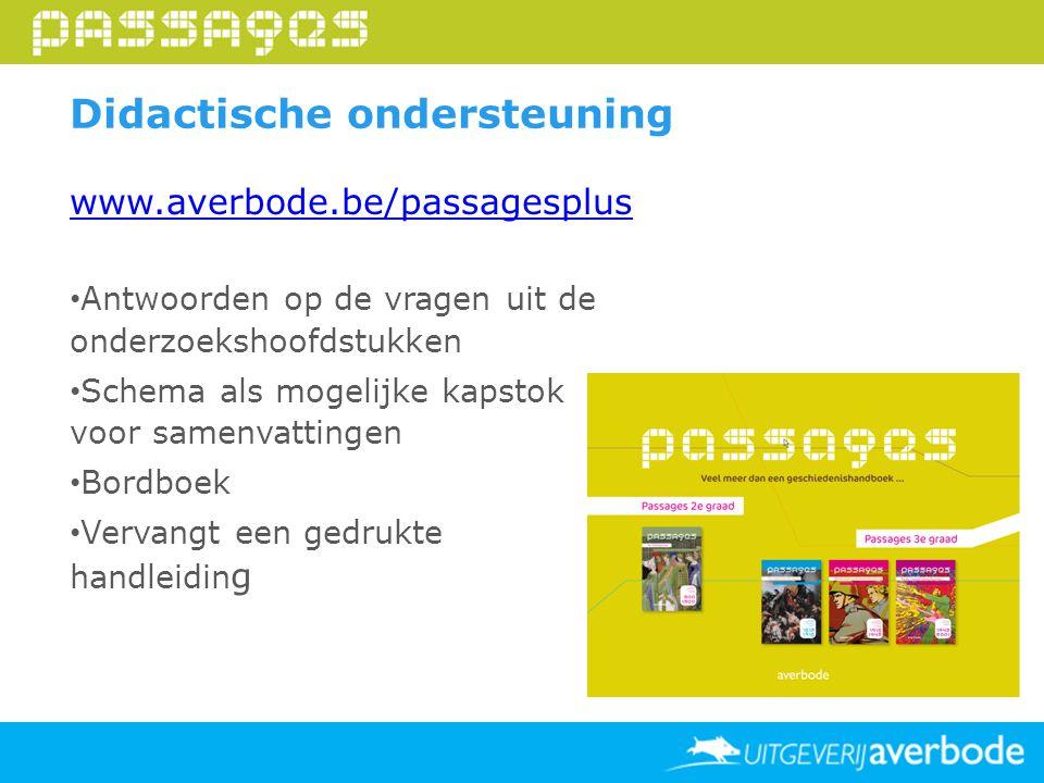 Didactische ondersteuning www.averbode.be/passagesplus Antwoorden op de vragen uit de onderzoekshoofdstukken Schema als mogelijke kapstok voor samenva