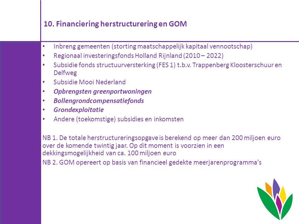 10. Financiering herstructurering en GOM Inbreng gemeenten (storting maatschappelijk kapitaal vennootschap) Regionaal investeringsfonds Holland Rijnla