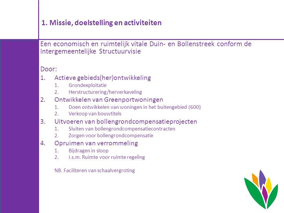 1. Missie, doelstelling en activiteiten Een economisch en ruimtelijk vitale Duin- en Bollenstreek conform de Intergemeentelijke Structuurvisie Door: 1