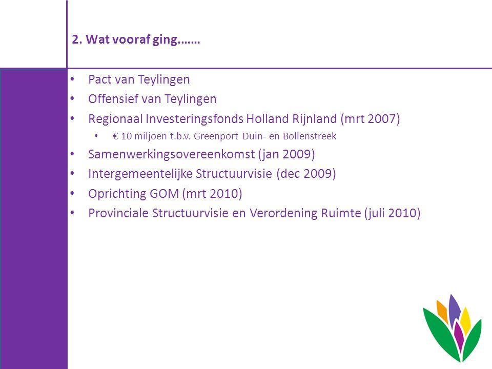 2. Wat vooraf ging.…… Pact van Teylingen Offensief van Teylingen Regionaal Investeringsfonds Holland Rijnland (mrt 2007) € 10 miljoen t.b.v. Greenport