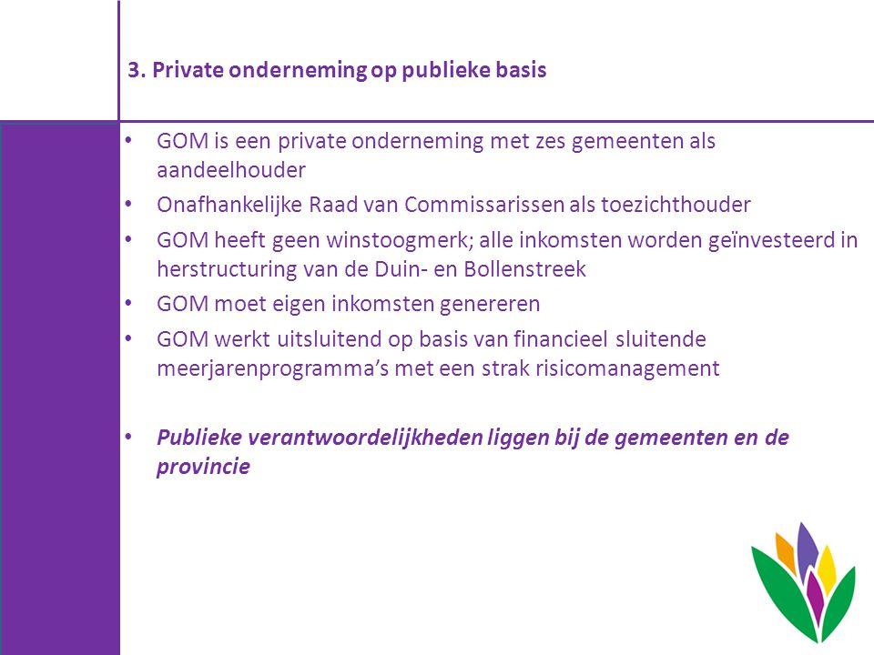 3. Private onderneming op publieke basis GOM is een private onderneming met zes gemeenten als aandeelhouder Onafhankelijke Raad van Commissarissen als