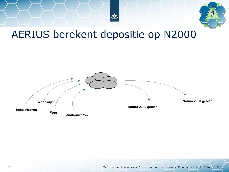Ministerie van Economische Zaken, Landbouw en Innovatie, Programma Directie Natura 2000 18 Veel sectoren dragen bij aan depositie