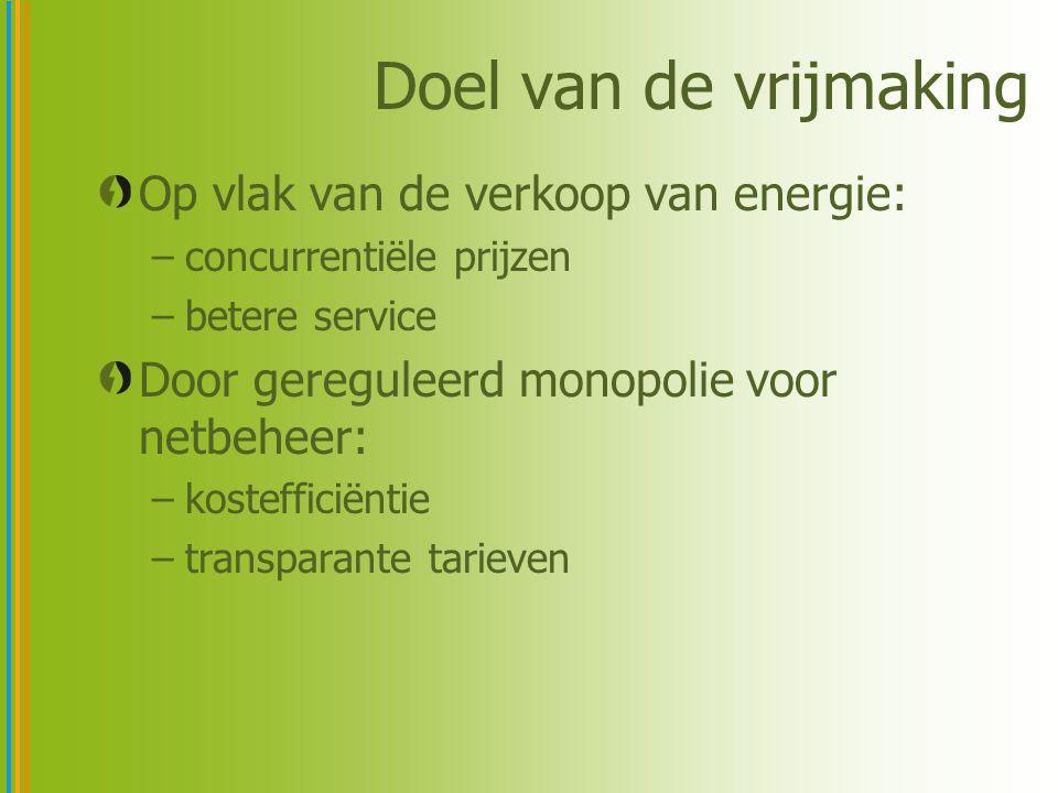 Doel van de vrijmaking Op vlak van de verkoop van energie: –concurrentiële prijzen –betere service Door gereguleerd monopolie voor netbeheer: –kostefficiëntie –transparante tarieven