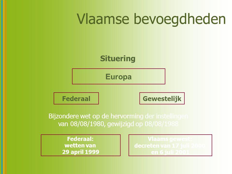 Vlaamse bevoegdheden Europa FederaalGewestelijk Federaal: wetten van 29 april 1999 Vlaams gewest: decreten van 17 juli 2000 en 6 juli 2001 Situering Bijzondere wet op de hervorming der instellingen van 08/08/1980, gewijzigd op 08/08/1988
