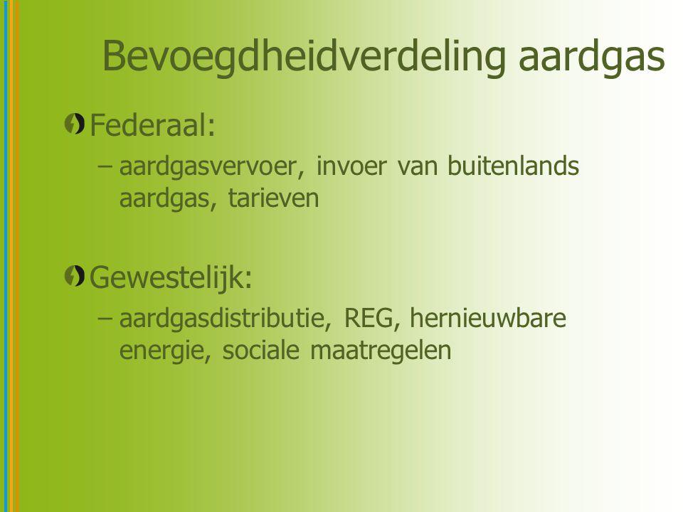 Bevoegdheidverdeling aardgas Federaal: –aardgasvervoer, invoer van buitenlands aardgas, tarieven Gewestelijk: –aardgasdistributie, REG, hernieuwbare energie, sociale maatregelen