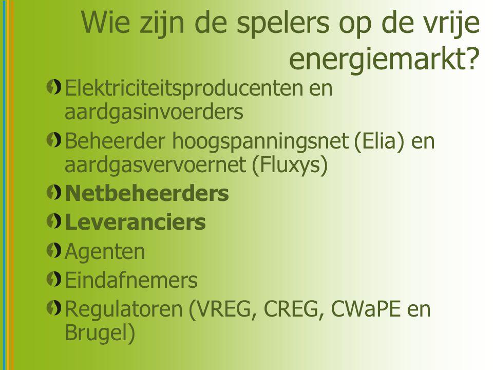 Wie zijn de spelers op de vrije energiemarkt? Elektriciteitsproducenten en aardgasinvoerders Beheerder hoogspanningsnet (Elia) en aardgasvervoernet (F