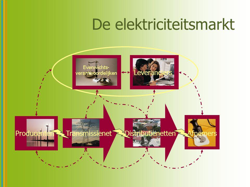 Transmissienet Afnemers Distributienetten Producenten Evenwichts- verantwoordelijken Leveranciers De elektriciteitsmarkt