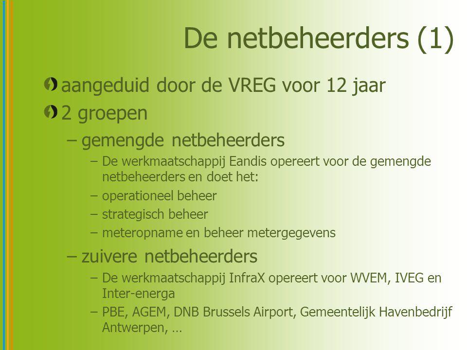 De netbeheerders (1) aangeduid door de VREG voor 12 jaar 2 groepen –gemengde netbeheerders –De werkmaatschappij Eandis opereert voor de gemengde netbeheerders en doet het: –operationeel beheer –strategisch beheer –meteropname en beheer metergegevens –zuivere netbeheerders –De werkmaatschappij InfraX opereert voor WVEM, IVEG en Inter-energa –PBE, AGEM, DNB Brussels Airport, Gemeentelijk Havenbedrijf Antwerpen, …
