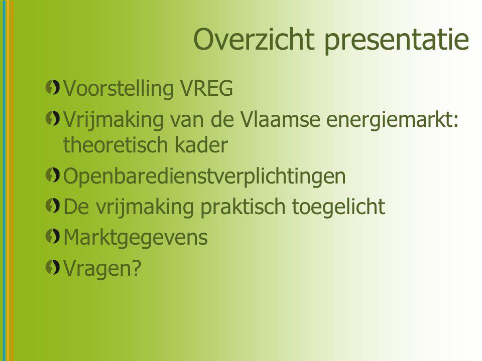 Overzicht presentatie Voorstelling VREG Vrijmaking van de Vlaamse energiemarkt: theoretisch kader Openbaredienstverplichtingen De vrijmaking praktisch toegelicht Marktgegevens Vragen