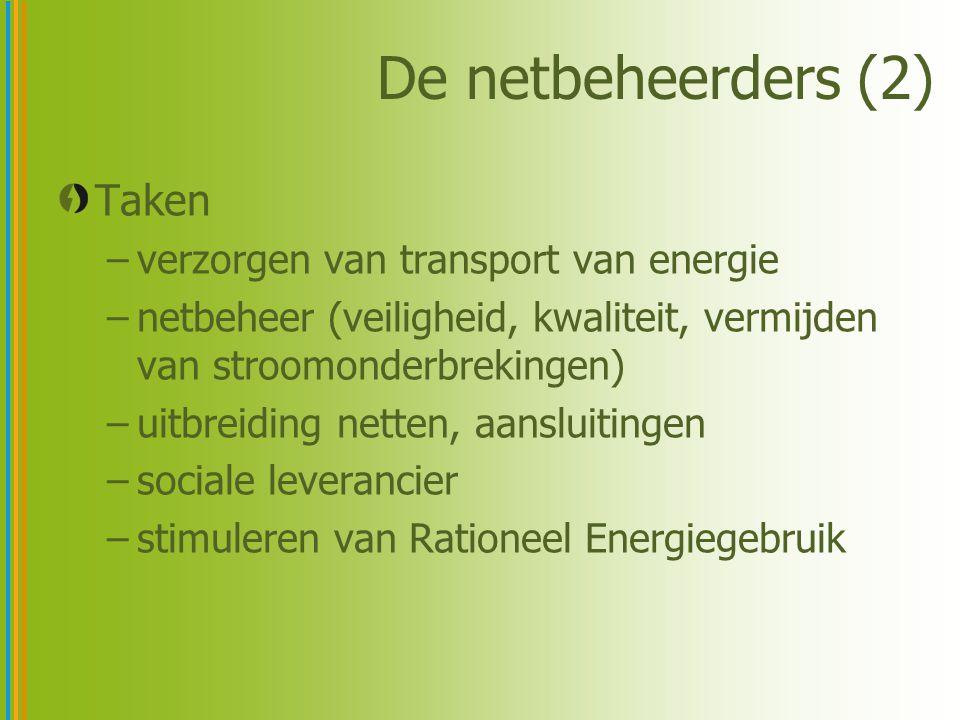 De netbeheerders (2) Taken –verzorgen van transport van energie –netbeheer (veiligheid, kwaliteit, vermijden van stroomonderbrekingen) –uitbreiding netten, aansluitingen –sociale leverancier –stimuleren van Rationeel Energiegebruik