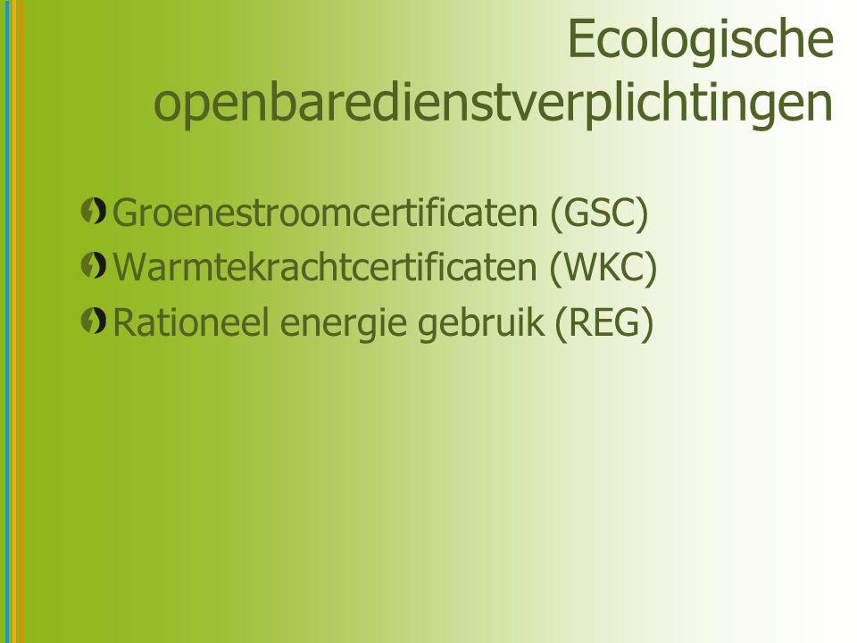 Ecologische openbaredienstverplichtingen Groenestroomcertificaten (GSC) Warmtekrachtcertificaten (WKC) Rationeel energie gebruik (REG)