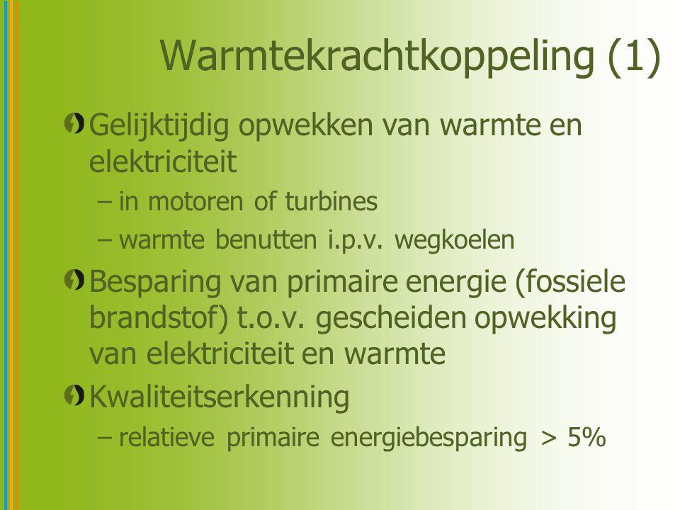 Warmtekrachtkoppeling (1) Gelijktijdig opwekken van warmte en elektriciteit –in motoren of turbines –warmte benutten i.p.v. wegkoelen Besparing van pr