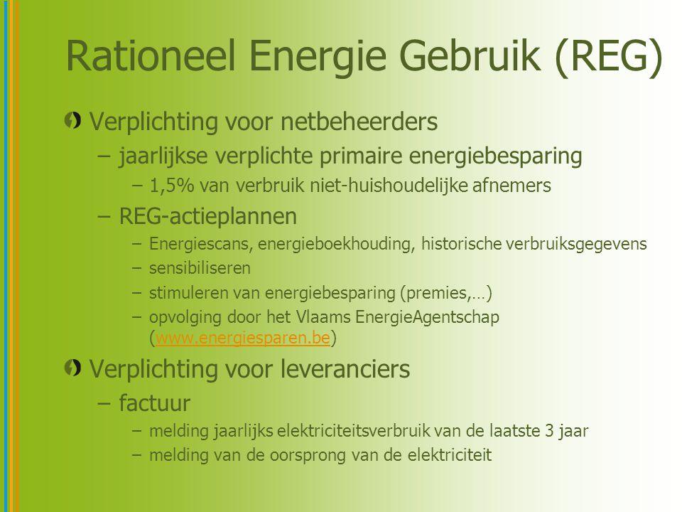 Rationeel Energie Gebruik (REG) Verplichting voor netbeheerders –jaarlijkse verplichte primaire energiebesparing –1,5% van verbruik niet-huishoudelijke afnemers –REG-actieplannen –Energiescans, energieboekhouding, historische verbruiksgegevens –sensibiliseren –stimuleren van energiebesparing (premies,…) –opvolging door het Vlaams EnergieAgentschap (www.energiesparen.be)www.energiesparen.be Verplichting voor leveranciers –factuur –melding jaarlijks elektriciteitsverbruik van de laatste 3 jaar –melding van de oorsprong van de elektriciteit