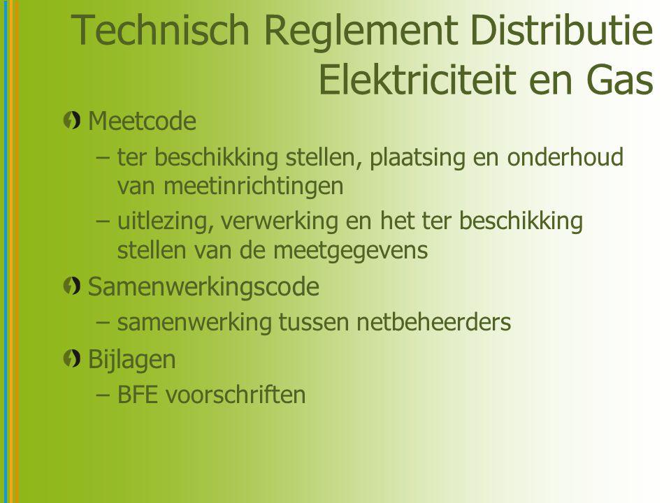 Technisch Reglement Distributie Elektriciteit en Gas Meetcode –ter beschikking stellen, plaatsing en onderhoud van meetinrichtingen –uitlezing, verwerking en het ter beschikking stellen van de meetgegevens Samenwerkingscode –samenwerking tussen netbeheerders Bijlagen –BFE voorschriften