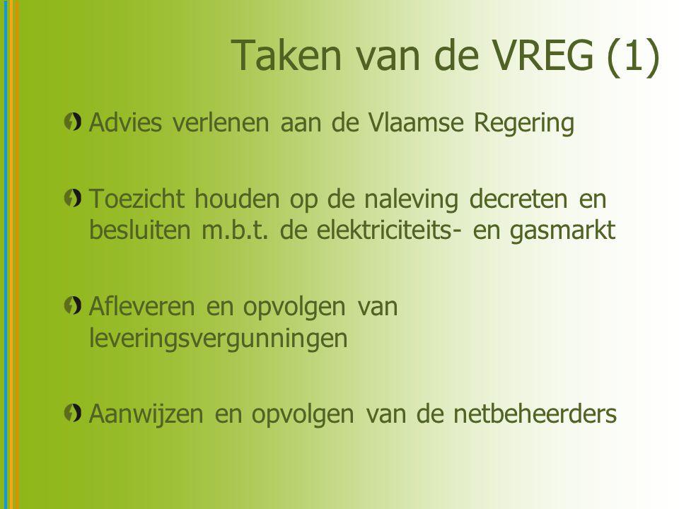 Taken van de VREG (1) Advies verlenen aan de Vlaamse Regering Toezicht houden op de naleving decreten en besluiten m.b.t. de elektriciteits- en gasmar