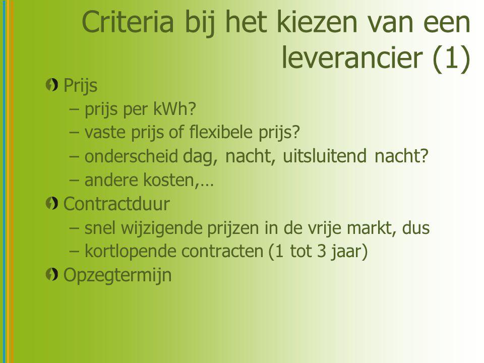 Criteria bij het kiezen van een leverancier (1) Prijs –prijs per kWh? –vaste prijs of flexibele prijs? –onderscheid dag, nacht, uitsluitend nacht? –an