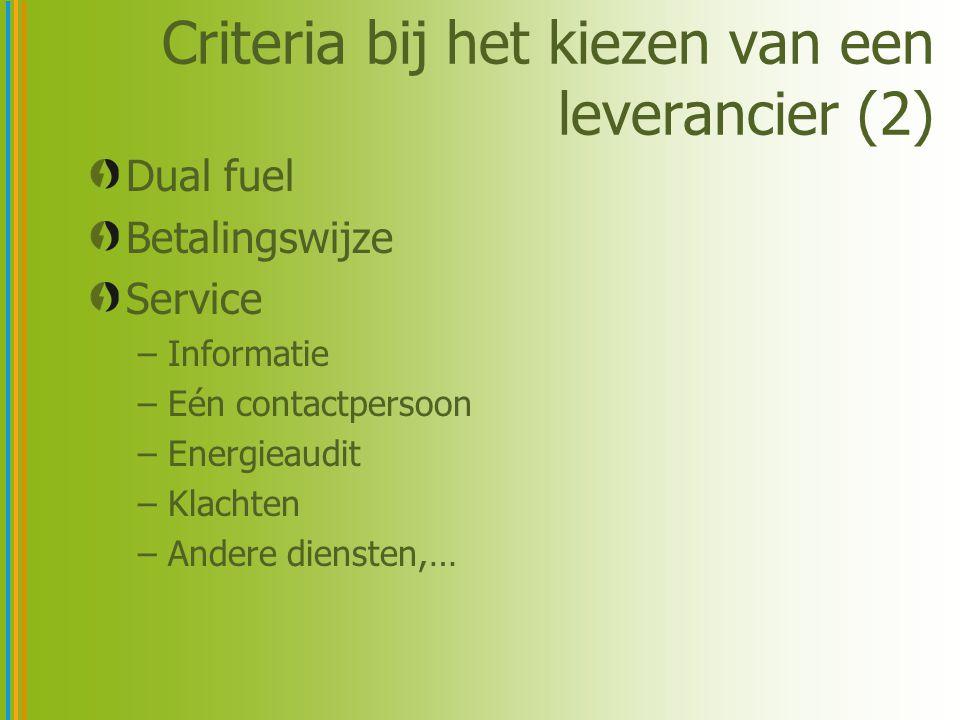 Criteria bij het kiezen van een leverancier (2) Dual fuel Betalingswijze Service –Informatie –Eén contactpersoon –Energieaudit –Klachten –Andere diensten,…