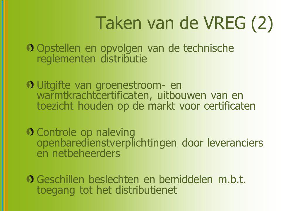 Taken van de VREG (2) Opstellen en opvolgen van de technische reglementen distributie Uitgifte van groenestroom- en warmtkrachtcertificaten, uitbouwen van en toezicht houden op de markt voor certificaten Controle op naleving openbaredienstverplichtingen door leveranciers en netbeheerders Geschillen beslechten en bemiddelen m.b.t.