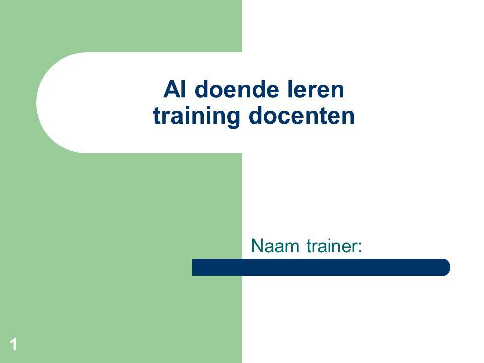 1 Al doende leren training docenten Naam trainer: