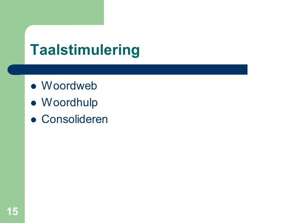 15 Taalstimulering Woordweb Woordhulp Consolideren