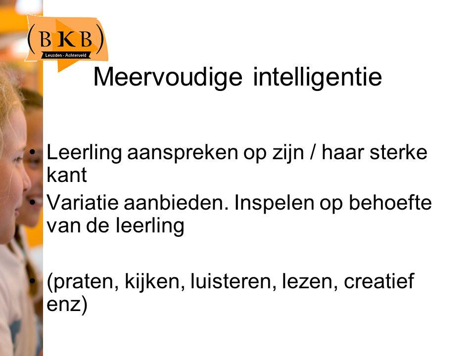 Meervoudige intelligentie Leerling aanspreken op zijn / haar sterke kant Variatie aanbieden.