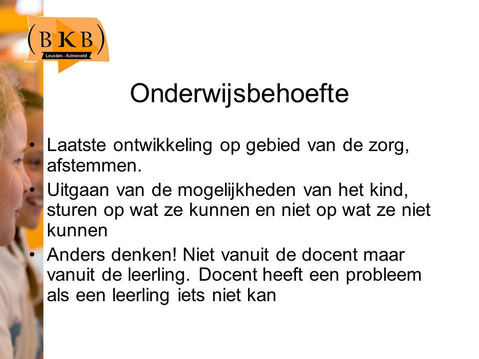 Onderwijsbehoefte Laatste ontwikkeling op gebied van de zorg, afstemmen.