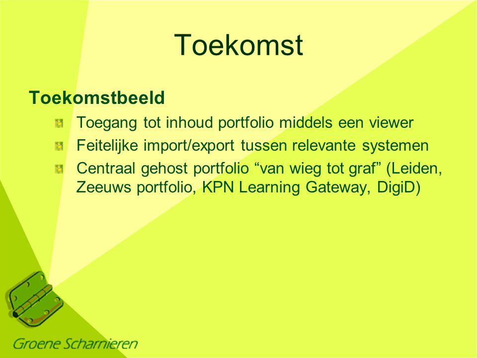 Toekomst Toekomstbeeld Toegang tot inhoud portfolio middels een viewer Feitelijke import/export tussen relevante systemen Centraal gehost portfolio van wieg tot graf (Leiden, Zeeuws portfolio, KPN Learning Gateway, DigiD)