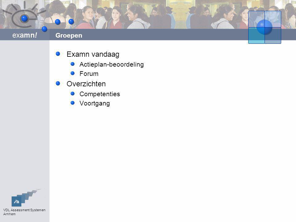 VDL Assessment Systemen Arnhem Groepen Examn vandaag Actieplan-beoordeling Forum Overzichten Competenties Voortgang