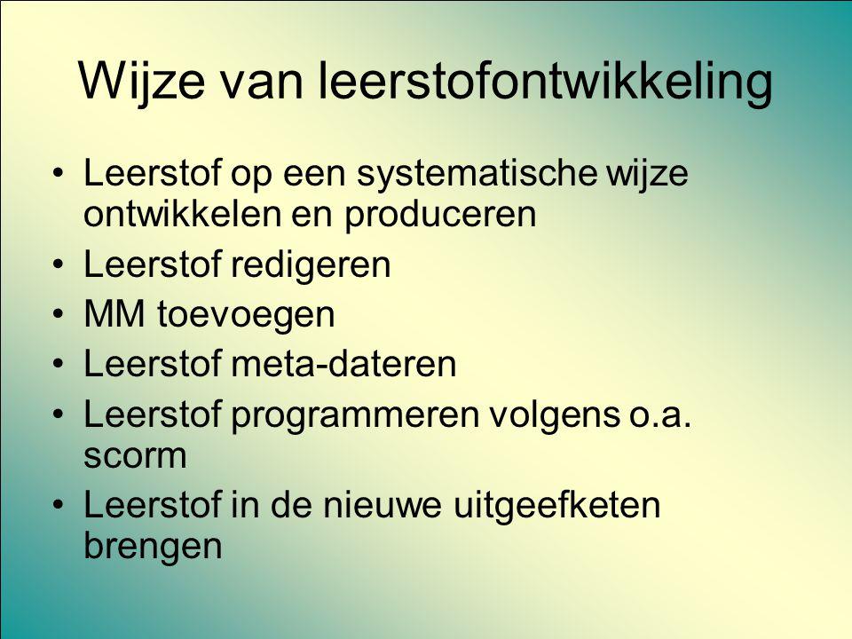 Wijze van leerstofontwikkeling Leerstof op een systematische wijze ontwikkelen en produceren Leerstof redigeren MM toevoegen Leerstof meta-dateren Lee