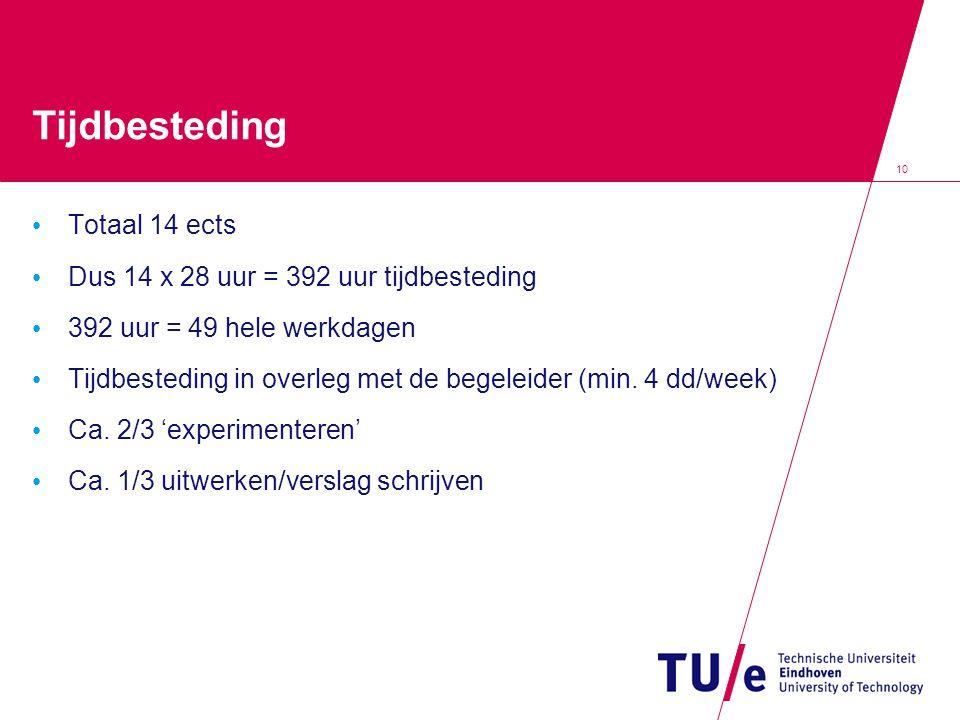 10 Tijdbesteding Totaal 14 ects Dus 14 x 28 uur = 392 uur tijdbesteding 392 uur = 49 hele werkdagen Tijdbesteding in overleg met de begeleider (min.