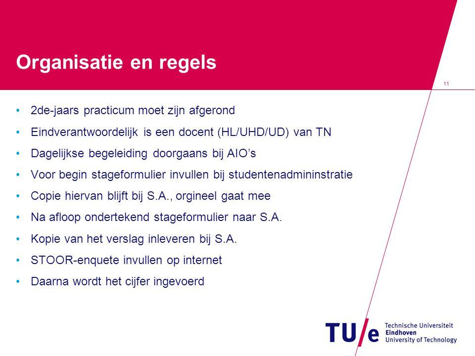 11 Organisatie en regels 2de-jaars practicum moet zijn afgerond Eindverantwoordelijk is een docent (HL/UHD/UD) van TN Dagelijkse begeleiding doorgaans